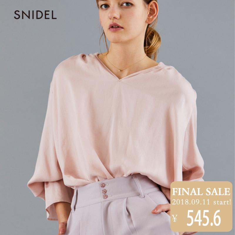 SNIDEL2018新品 复古时尚喇叭袖衬衫上衣SWFB181138