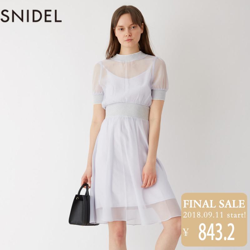 SNIDEL 2018新品 灯笼袖中长款甜美连衣裙 SWFO181048