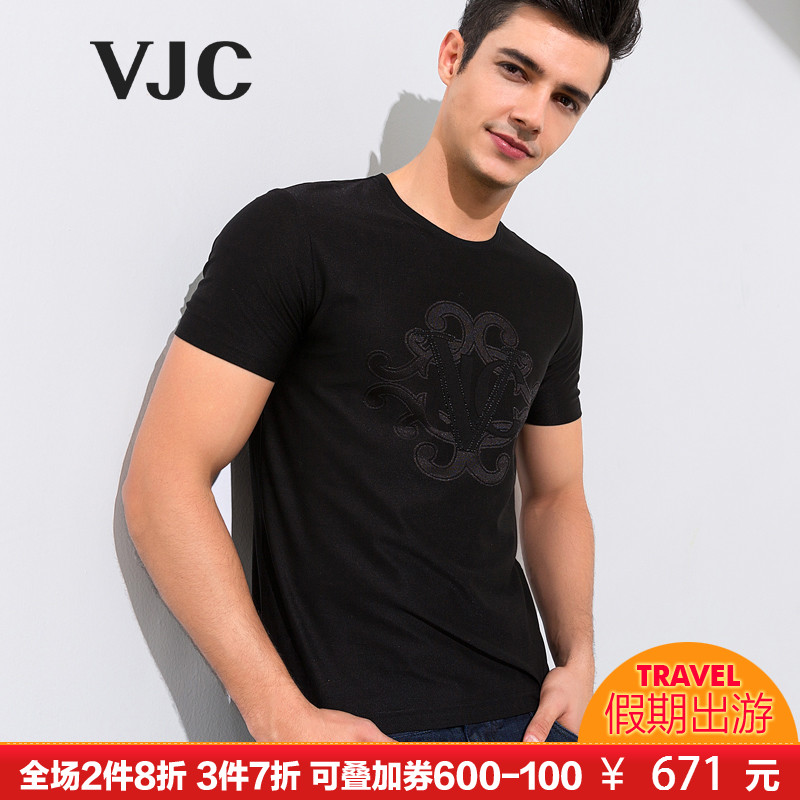 VJC-威杰思2018春夏新款黑色男士青年休闲印花时尚百搭短袖T恤衫