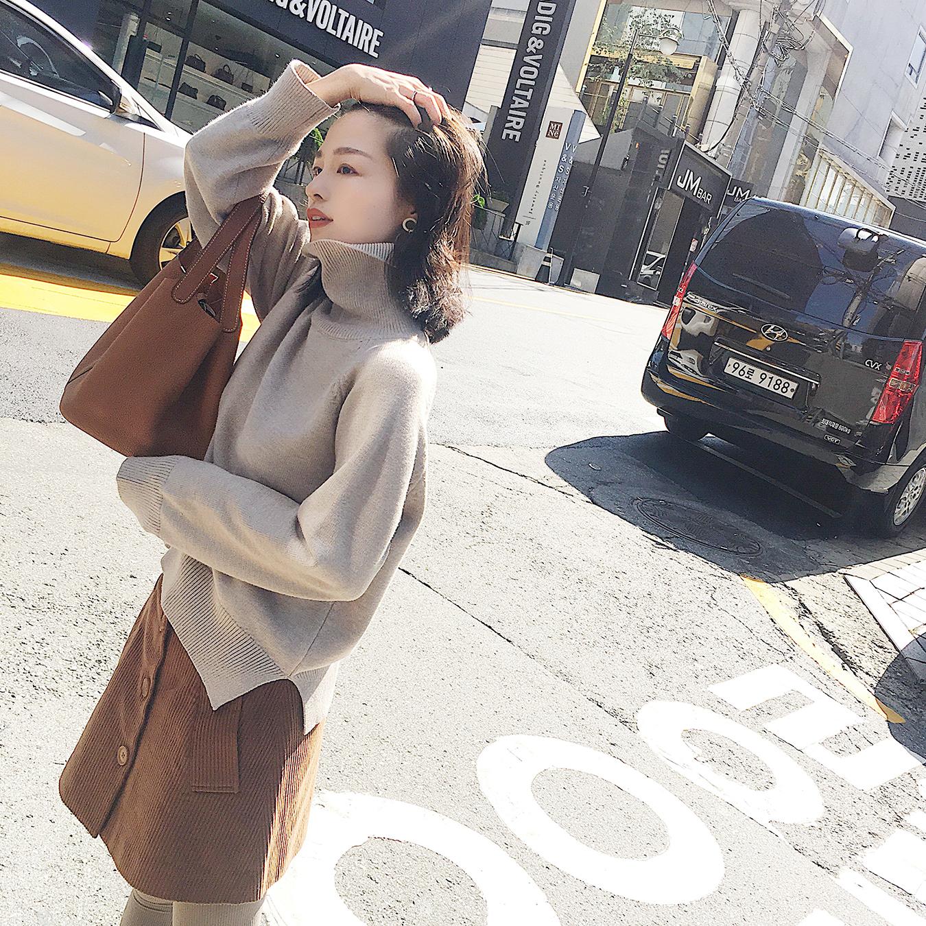 南瓜谷冬季新款套头宽松高领打底针织衫纯色毛衣女短款上衣Z157