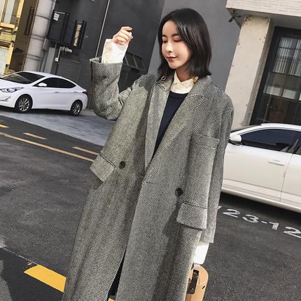 【13C】2017冬季新款毛呢外套女过膝长款翻领黑白人字纹大衣FO06