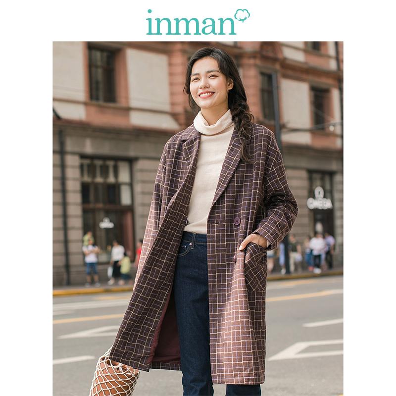 茵曼女装春秋新品英伦范气质双排扣双兜格子风衣外套女中长款大衣