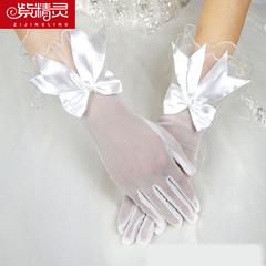 紫精灵 婚纱手套新娘白色蝴蝶结蕾丝花边手套 结婚短手套