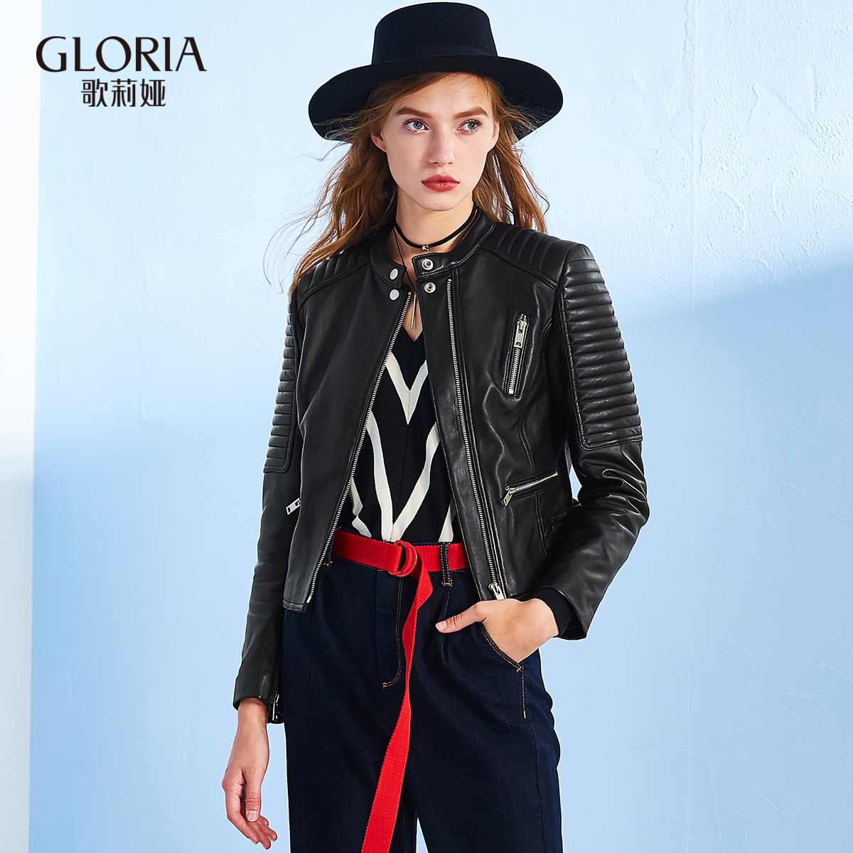 GLORIA-歌莉娅女装初冬季新品装饰拉链皮衣17CJ6F030