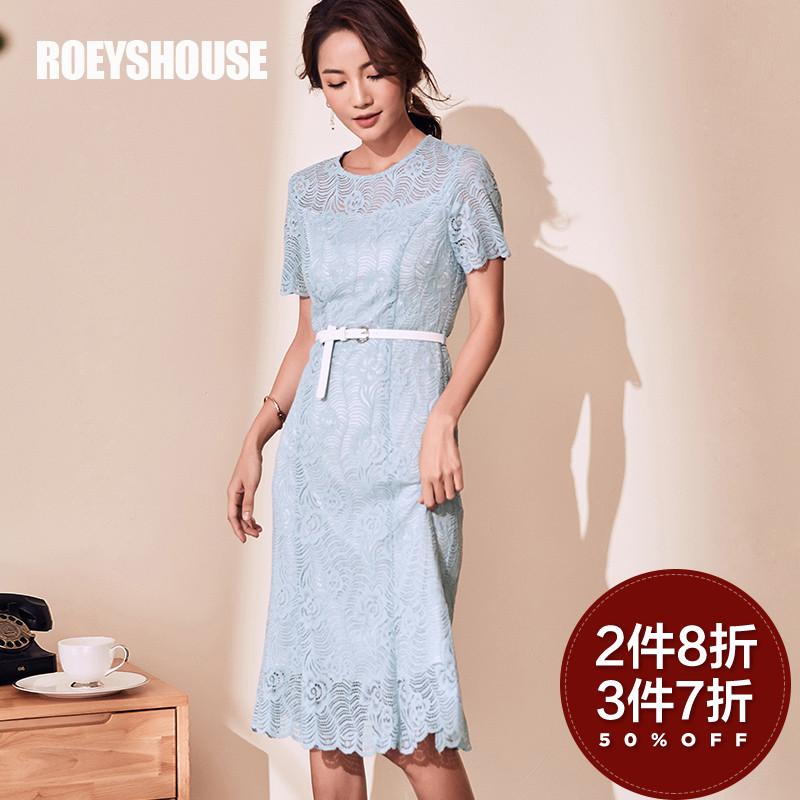 罗衣原创蕾丝连衣裙女2018夏装新款优雅镂空修身鱼尾蓝色裙子4385