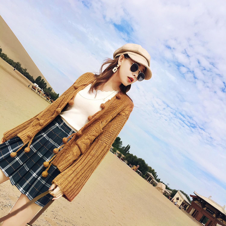 秋季新款韩版港味纯色针织衫女开衫长袖学生宽松显瘦原宿毛衣外套
