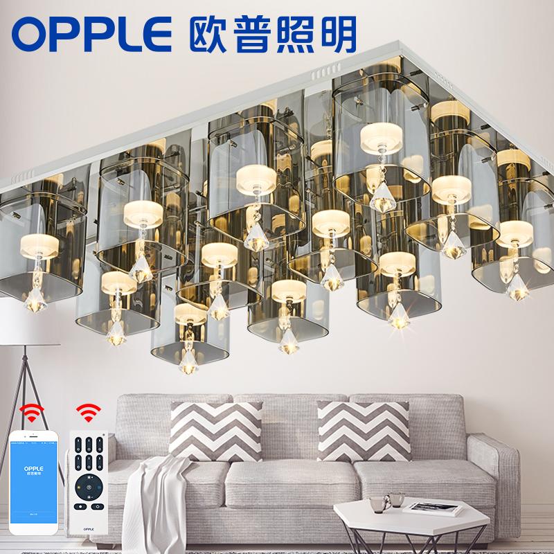 欧普照明 客厅水晶灯现代led吸顶灯长方形新灯具温馨大气卧室灯
