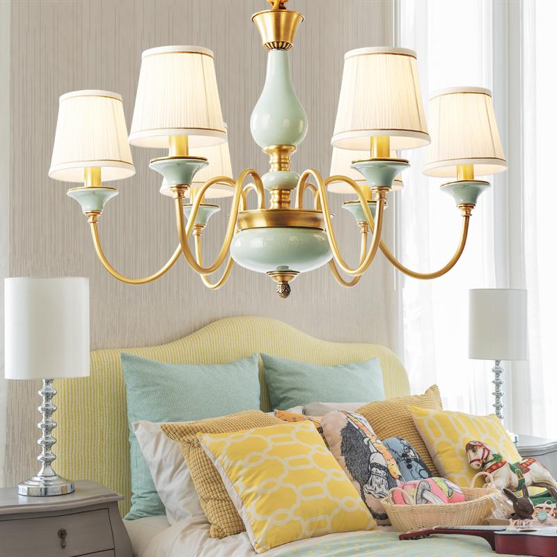欧普照明吊灯美式简约餐厅客厅卧室全铜艺术led吊灯具创意个性