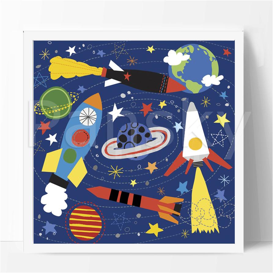 碧海蓝儿童画/40×40cm/卡通画/装饰画/卧室书房/幼儿园-宇宙太空图片