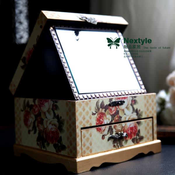 Шкатулка для драгоценностей Стойкие продукты Домашний деревенский старинные деревянные коробка ювелирных изделий печать наклейки коробка коробка ювелирных изделий коробка ювелирных изделий зеркало для макияжа ящиками