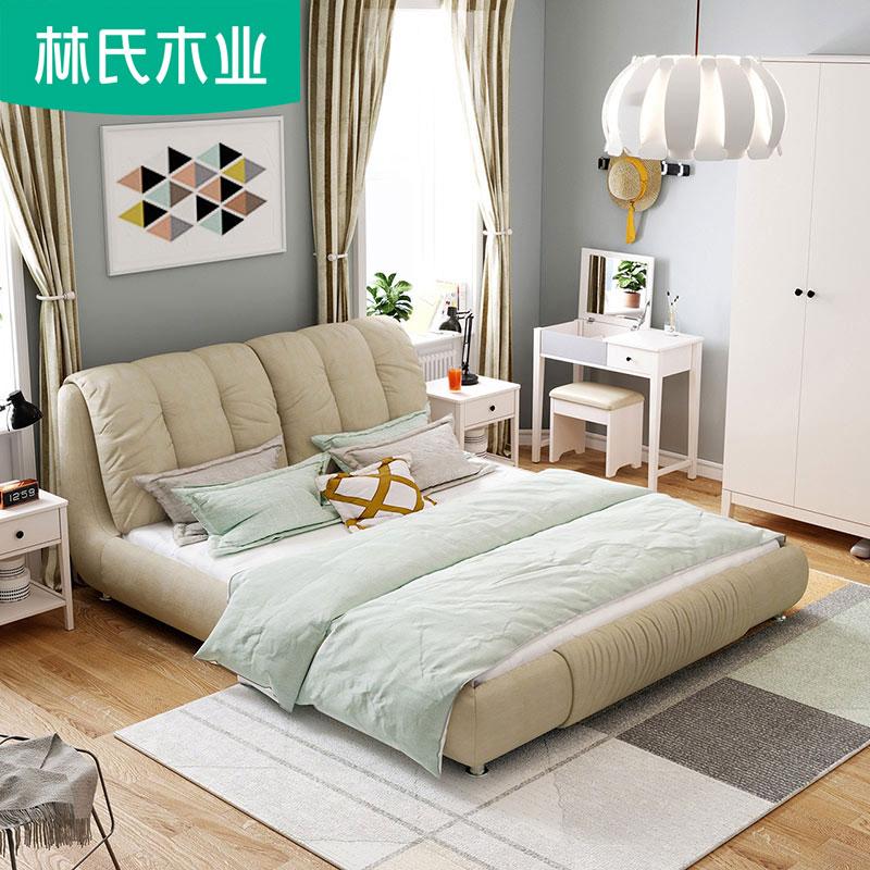 简约高箱婚床可拆洗布艺床双人床1.5m软靠布床小户型储物家具R239