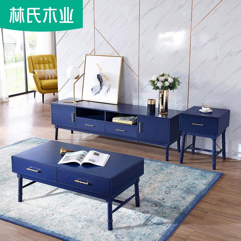 客厅现代简约美式轻奢家具茶几电视柜组合储物柜子组装地柜LS056