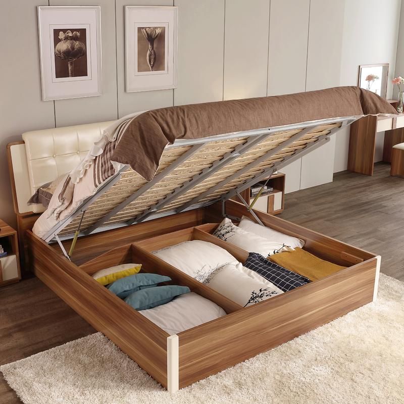 亚博足彩appios木业现代时尚板式床1.5米1.8气动高箱储物双人床大床CP1A-A产品展示图4
