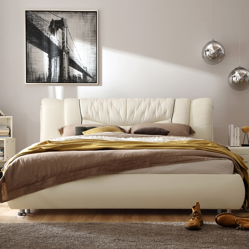 林氏木业1.5软床现代真皮床1.8米双人床皮艺床软体床储物婚床R31产品展示图2