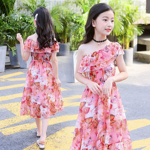 Girls' Beach Skirt Long Style Super Fairy 2019 New Big Kids Floral Chiffon Princess Beach Holiday Dress