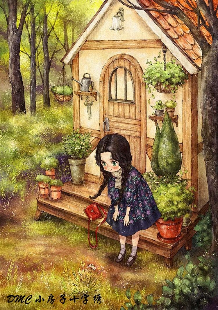 小房子十字绣 正品法国dmc套件-森林女孩日记2 满绣美图可爱治愈图片