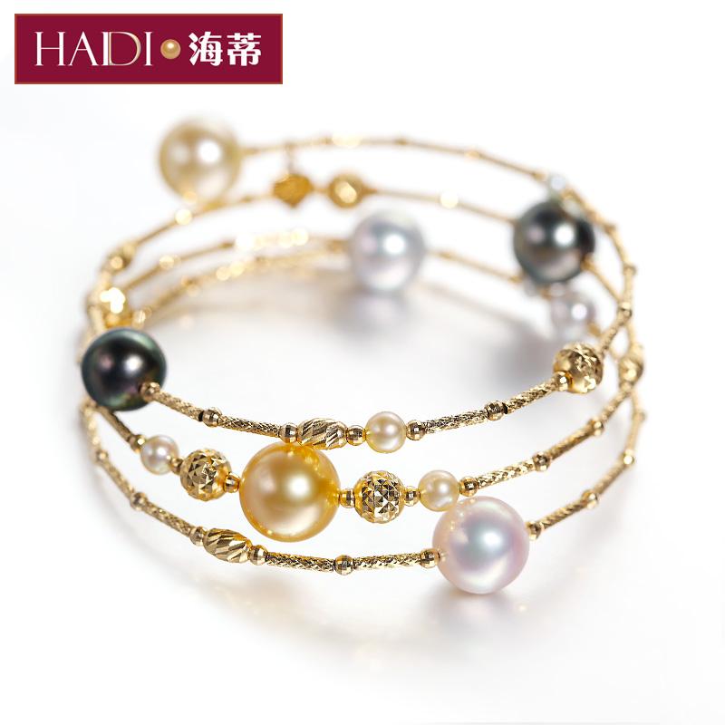 海蒂珠宝锦珊 2-9.5mm深海珍珠-AKOYA海水珠多层珍珠手链G18K手镯