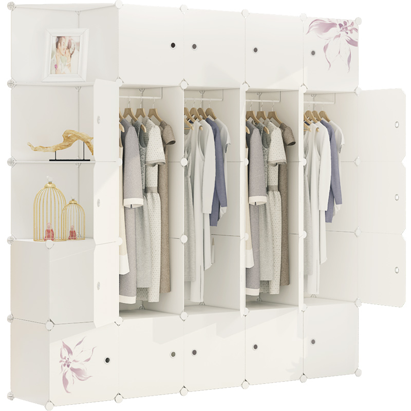 Simple wardrobe assembly plastic hanging wardrobe steel frame locker double hanging wardrobe simple modern economic cabinet
