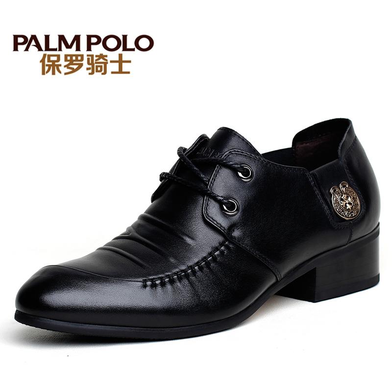 保罗骑士秋季新款韩版真皮高跟男鞋尖头商务正装皮鞋男增高鞋子男