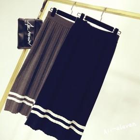 高腰百褶针织半身裙