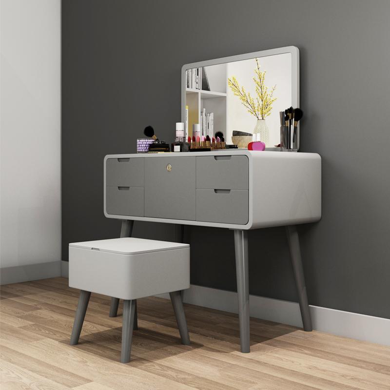 北欧梳妆台卧室现代简约小户型迷你整装化妆桌实木网红ins化妆台