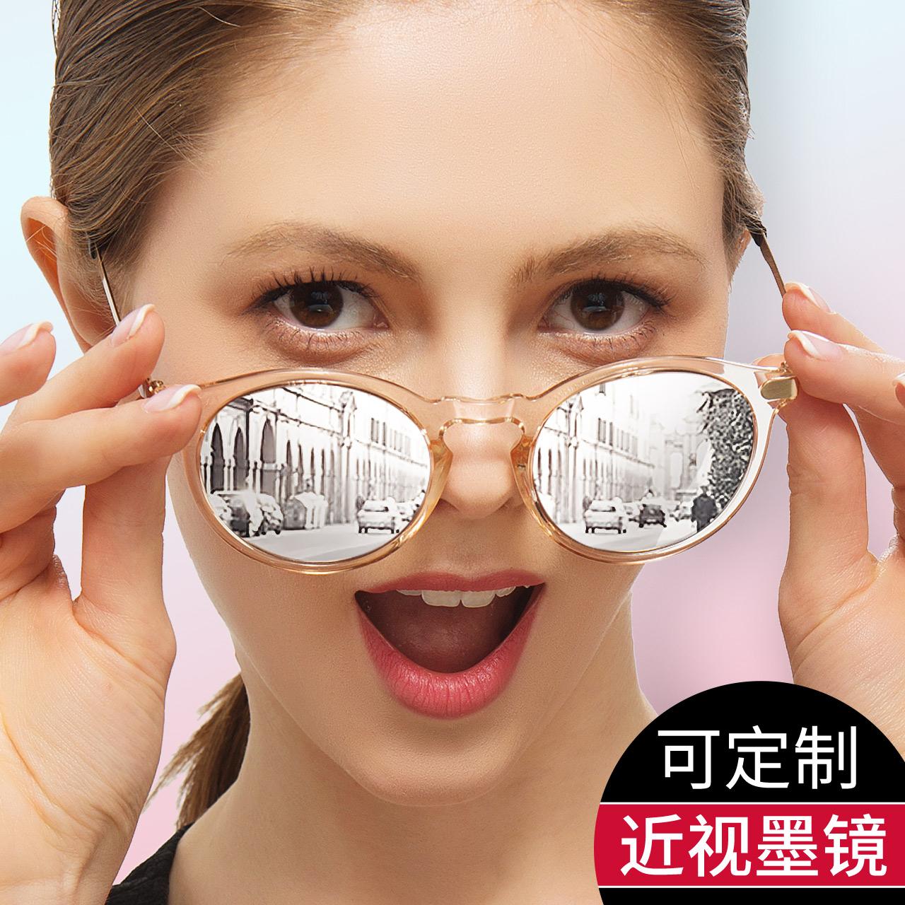 近视墨镜女太阳镜2018新款潮圆脸驾驶镜开车偏光蛤蟆镜定制有度数
