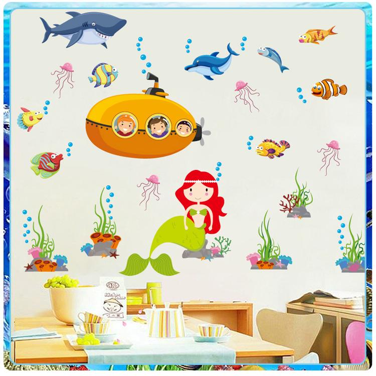 卡通海底世界美人鱼墙贴 创意儿童房幼儿园玻璃瓷砖墙壁贴纸贴画