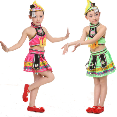 Children's Ethnic Costumes Group Dance Solo Dance Children's Girls Yi Miao Zhuang Tujia Dance Costume