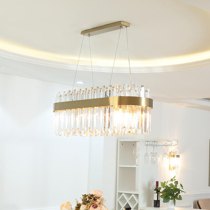 后现代水晶棒餐厅吊灯不锈钢港式长方形简约饭厅大气轻奢餐桌灯具