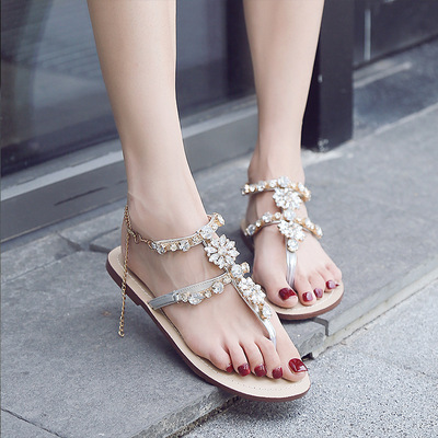 Woman Sandals Women Shoes Rhinestones Chains Thong Gladiator Flat Sandals Crystal Chaussure Plus Size's main photo