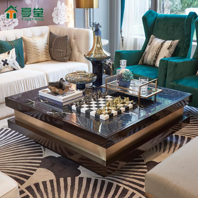 亭堂新古典后现代正方形天然大理石茶几电视柜组合黑轻奢客厅家具