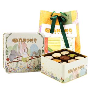 AKOKO九宫格曲奇铁盒成人装好吃的零食大礼包饼干伴手礼手工点心