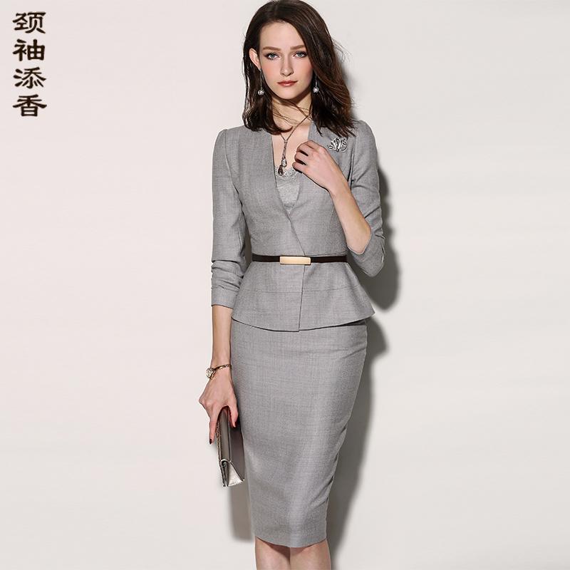 颈袖添香2018春秋季新款气质时尚职业装女装两件套小西装套装套裙