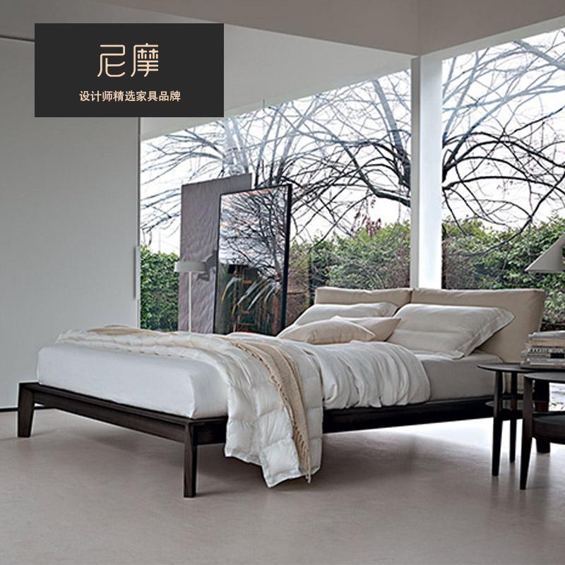 Nimo尼摩 北欧现代简约实木床卧室软包靠背双人床1.8米设计师床