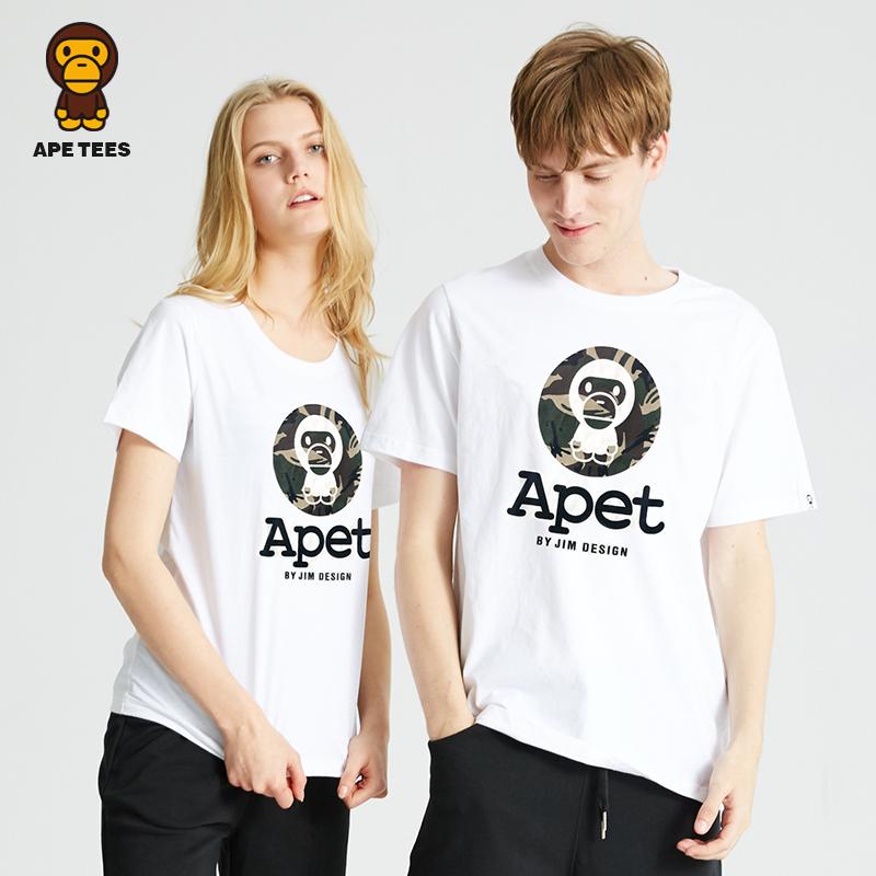 安逸猿ape潮牌2018夏季新款情侣装潮流迷彩大嘴猿猴印花短袖t恤女