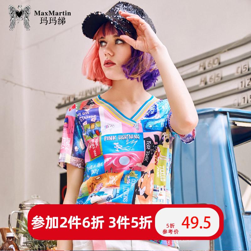 玛玛绨2019夏装新款卡通印花休闲宽松短袖T恤女个性潮牌V领上衣