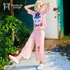 玛玛绨2018夏装新款时尚休闲短袖t恤配阔腿裤套装女原宿风两件套