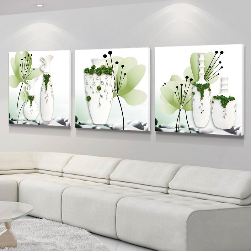 客厅浮雕装饰画现代简约沙发背景墙三联挂画镜面立体烤瓷水晶壁画