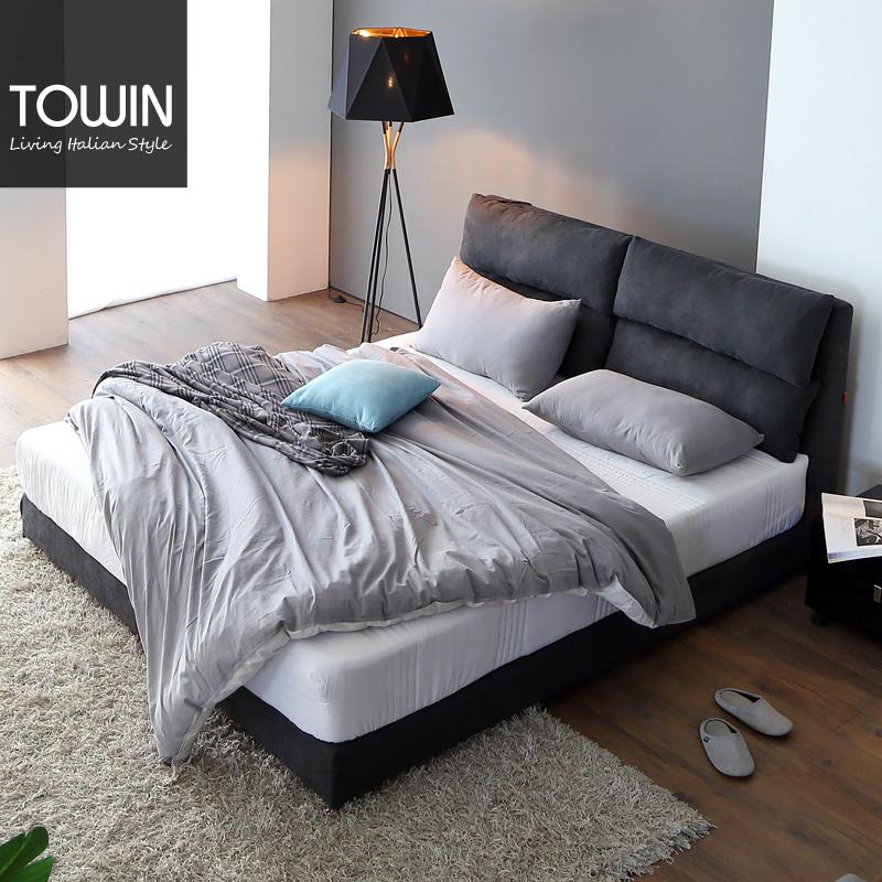 淘营家具布艺双人床主卧可拆洗简约现代北欧小户型1.8婚床 HT5