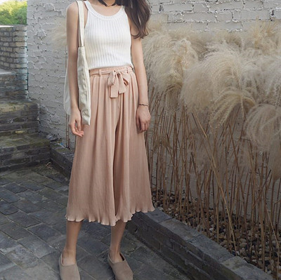 Retro Korean chic wind straps high waist loose wild seven wide leg pants chiffon pleated solid color casual pants female