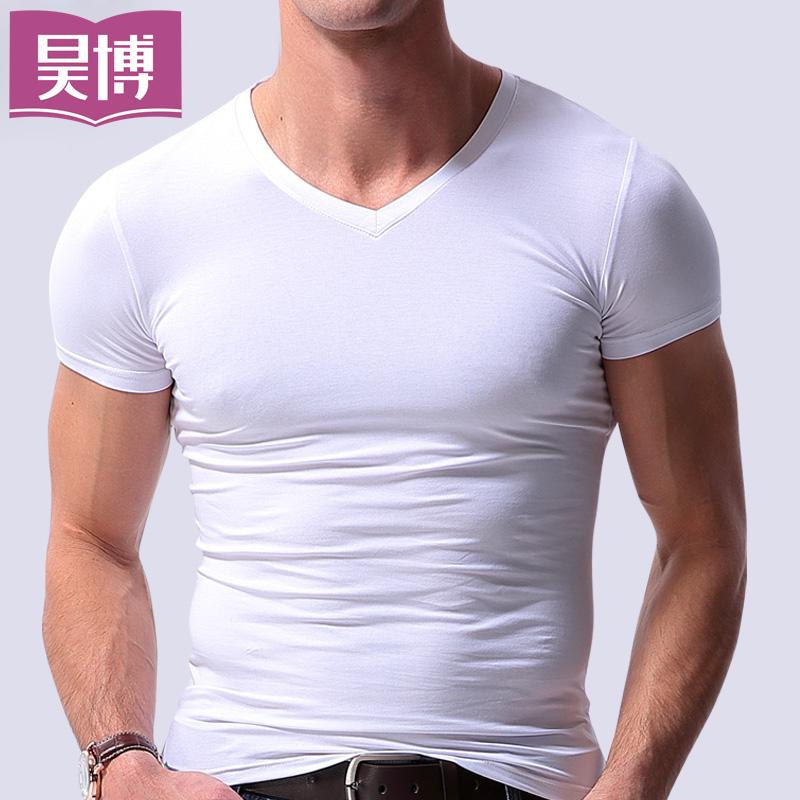 男士莫代尔短袖T恤男装V领夏季青年半袖体恤汗衫紧身修身打底衫潮