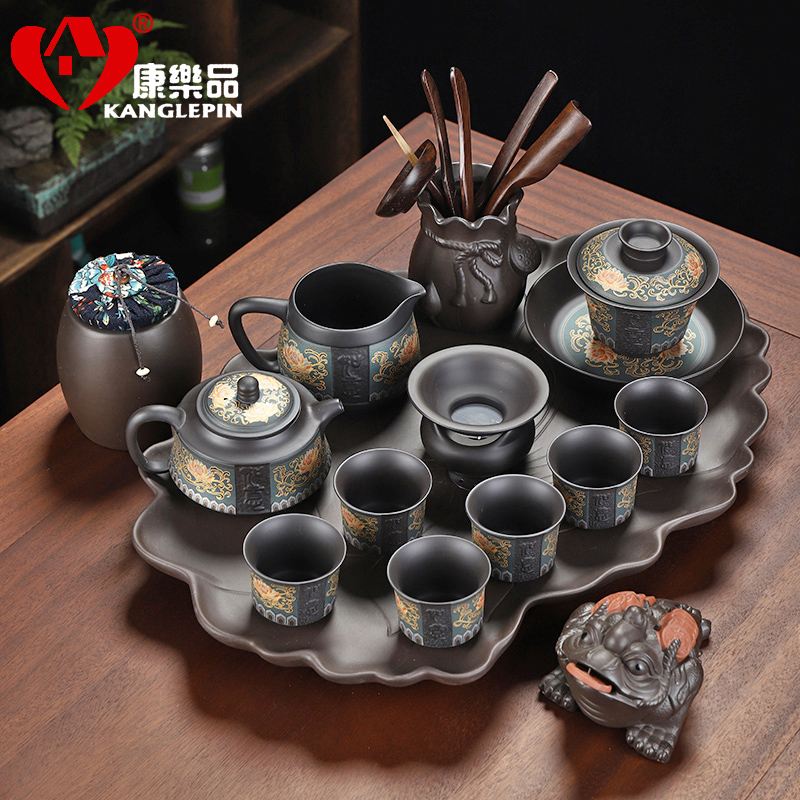 Recreational product ore violet arenaceous tureen tea set a complete set of contracted household teapot teacup tea tray was kung fu tea set