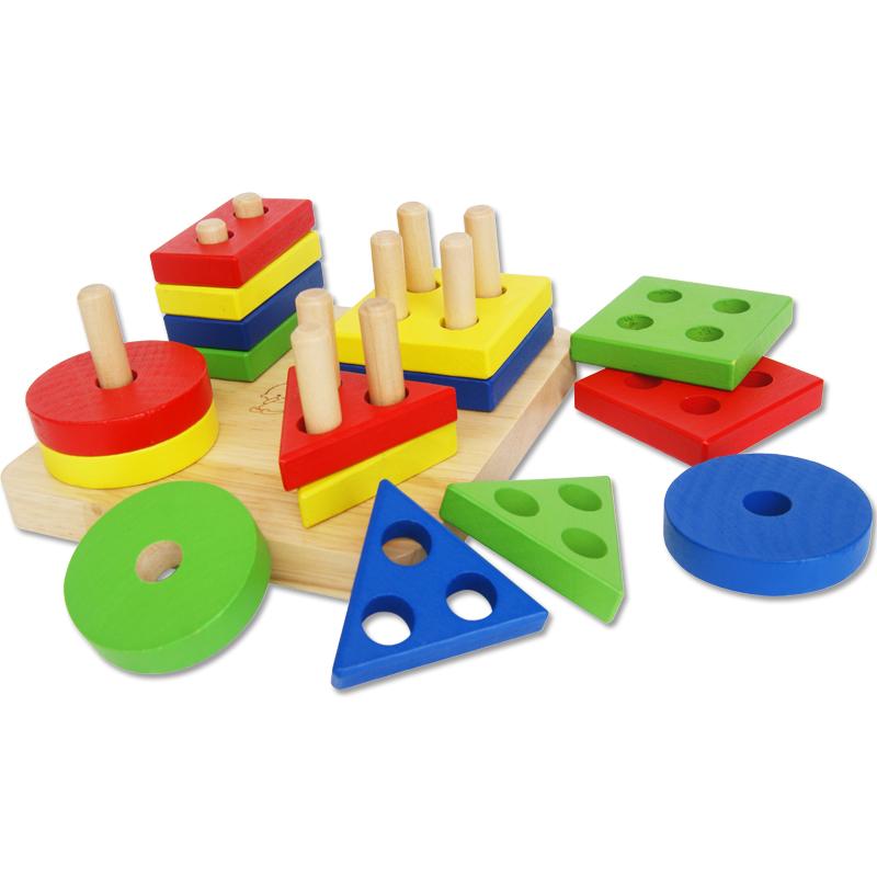 Детские игрушки, Детская 1-2-3 геометрические фигуры блок ребенка худой заклинание положить строительных блоков разведки в Монтессори дошкольного образования