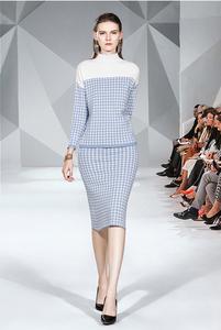 实拍现货9771#撞色千鸟格半高领针织毛衣+小香风高腰修身半裙套装