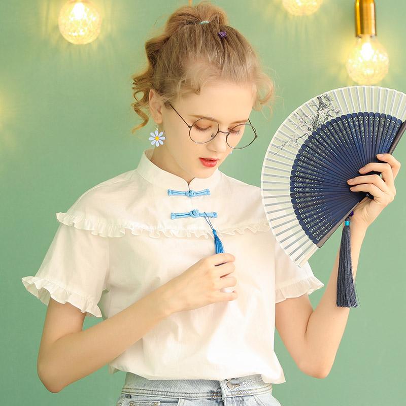 法式短袖上衣女设计感小众衬衫2020年夏季新款薄款白色盘扣衬衣夏
