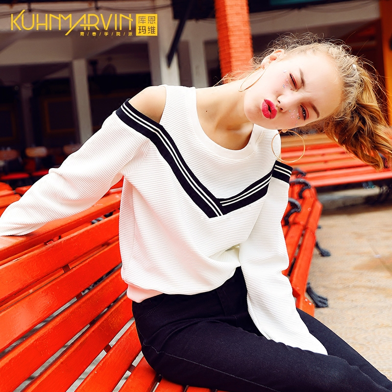 2017秋装新款时尚韩版宽松长袖套头针织衫卫衣女学生百搭上衣薄款