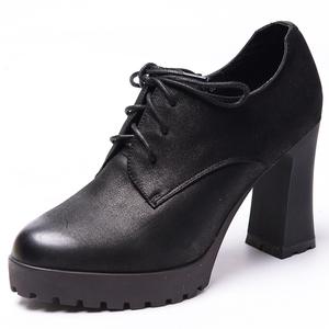 木林森正品女鞋真皮防水台女皮鞋工作鞋系带深口高跟鞋BW7392004