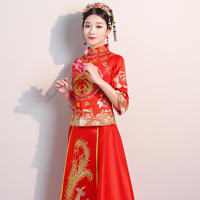 秀禾服新娘2018新款中式婚纱结婚礼服龙凤褂修身秀和服孕妇红喜服