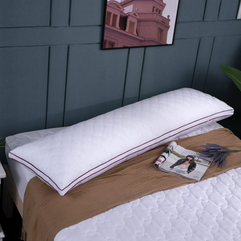 全棉可水洗情侣羽丝绒1.2双人枕头1.5米婚庆高枕长枕芯软床头靠背