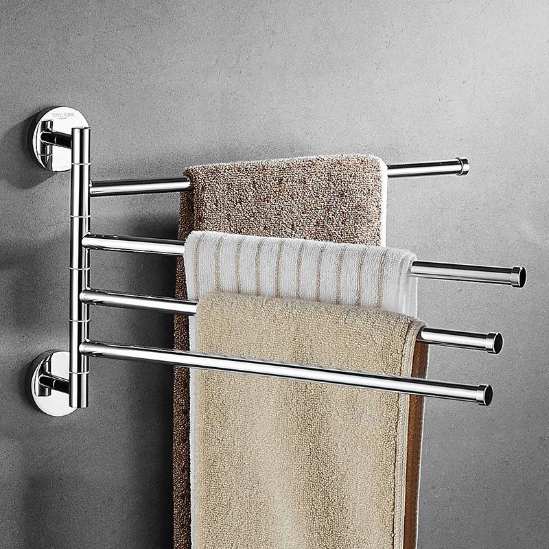 免打孔全铜浴室卫生间厨房浴巾架毛巾挂架旋转挂杆挂毛巾架毛巾杆